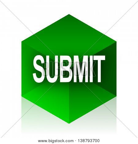 submit cube icon, green modern design web element