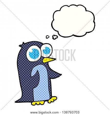freehand drawn thought bubble cartoon penguin with big eyes