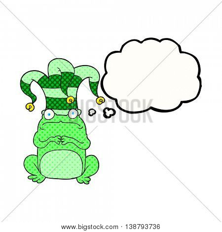 freehand drawn thought bubble cartoon frog wearing jester hat