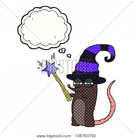 freehand drawn thought bubble cartoon magic witch mouse