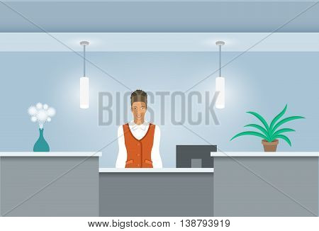 African American girl receptionist stands at reception desk. Front view. Vector flat illustration. Office hall interior design with green plants and administrator woman. Hotel registration background