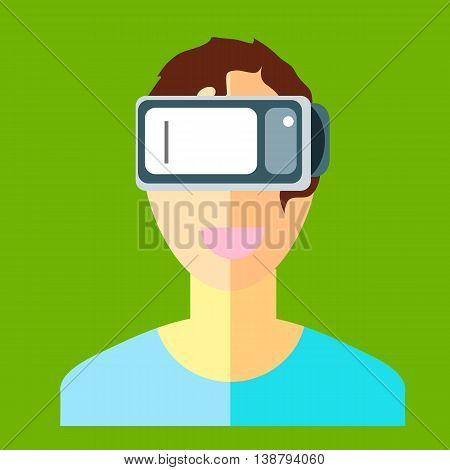 Man In A Helmet Virtual Reality Vr On A Green Background. New Technology For Watching Movies And Gam