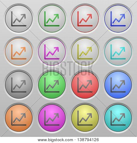 Set of Line graph plastic sunk spherical buttons.