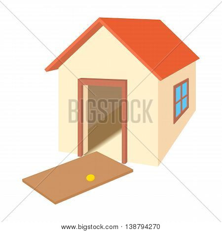 Broken door house icon in cartoon style isolated on white background. Wreckage symbol
