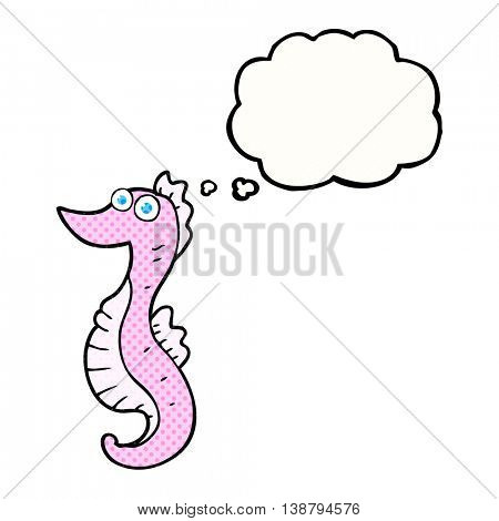 freehand drawn thought bubble cartoon seahorse