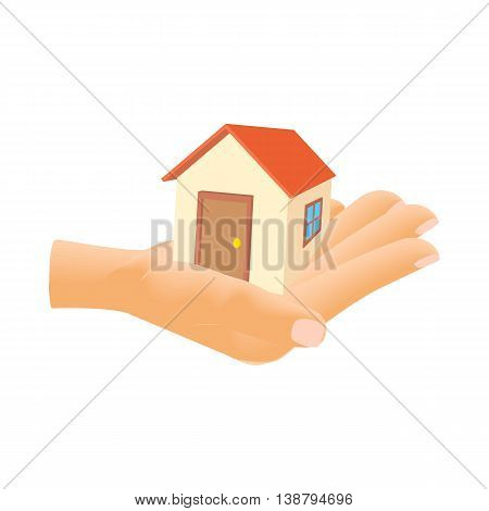 Hand holding house icon in cartoon style isolated on white background. Structure symbol