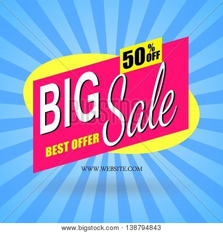 abstract poster banner big sale on a blue background