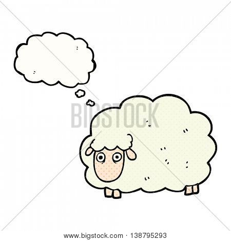 freehand drawn thought bubble cartoon farting sheep