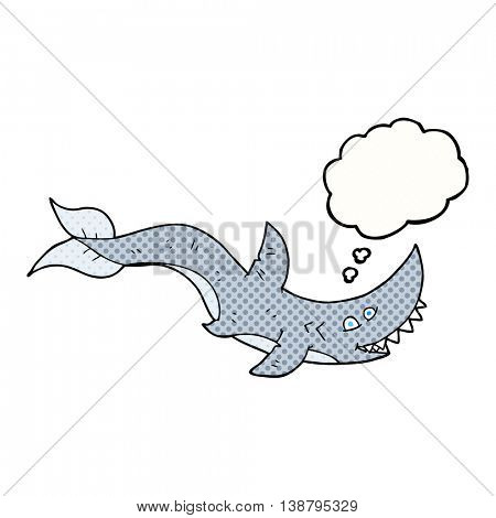 freehand drawn thought bubble cartoon shark