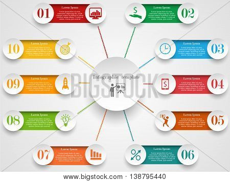 Infographic design template. Concept with 10 options, steps or processes. Can be used for workflow layout, diagram, step up options, web design. Business elements