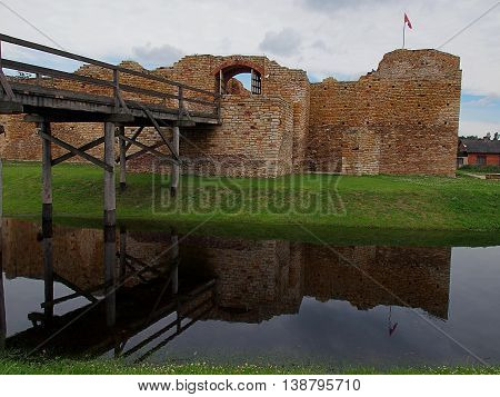 Inowlodz, Poland - July 16, 2016 The reconstructed medieval castle built of sand stone by Polish King Casimir the Great in Inowlodz.