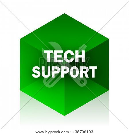 technical support cube icon, green modern design web element