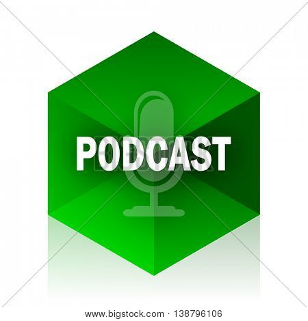 podcast cube icon, green modern design web element