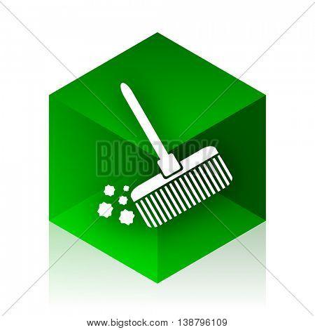 broom cube icon, green modern design web element