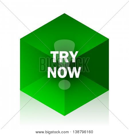 try now cube icon, green modern design web element