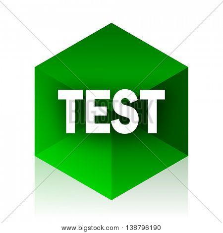 test cube icon, green modern design web element