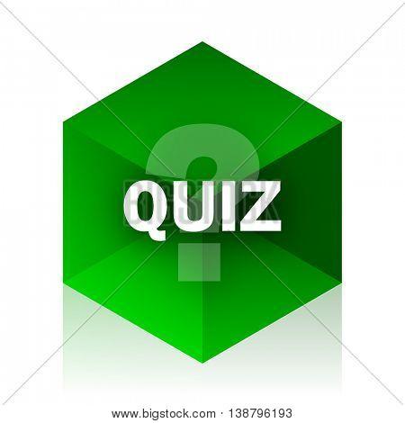 quiz cube icon, green modern design web element
