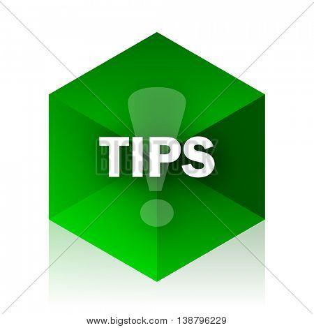 tips cube icon, green modern design web element