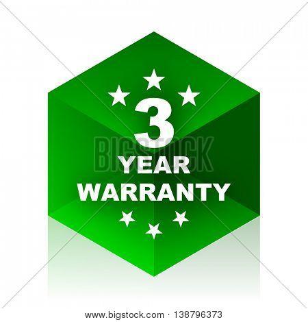 warranty guarantee 3 year cube icon, green modern design web element