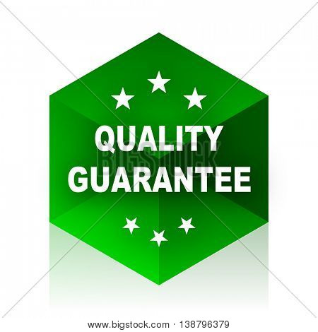 quality guarantee cube icon, green modern design web element