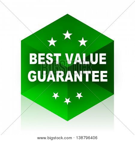 best value guarantee cube icon, green modern design web element