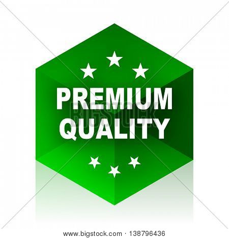 premium quality cube icon, green modern design web element