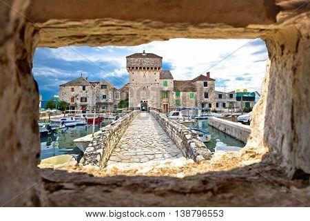 Kastel Gomilica through stone window view Dalmatia Croatia