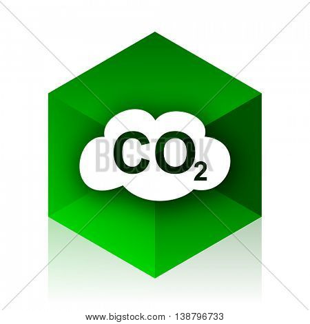 carbon dioxide cube icon, green modern design web element