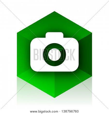 photo camera cube icon, green modern design web element