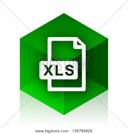 xls file cube icon, green modern design web element