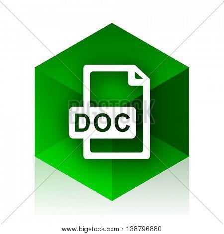 doc file cube icon, green modern design web element