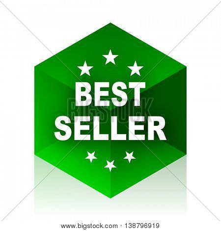 best seller cube icon, green modern design web element