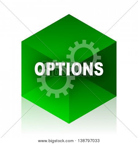 options cube icon, green modern design web element