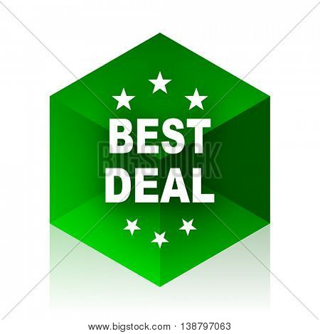 best deal cube icon, green modern design web element