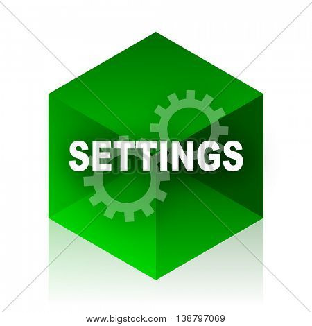 settings cube icon, green modern design web element