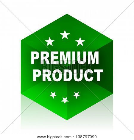 premium product cube icon, green modern design web element