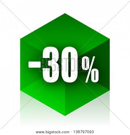 30 percent sale retail cube icon, green modern design web element