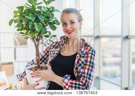 Female interior designer carrying decorative plant, holding pot. Front view portrait of florist looking at the tree in a large light room
