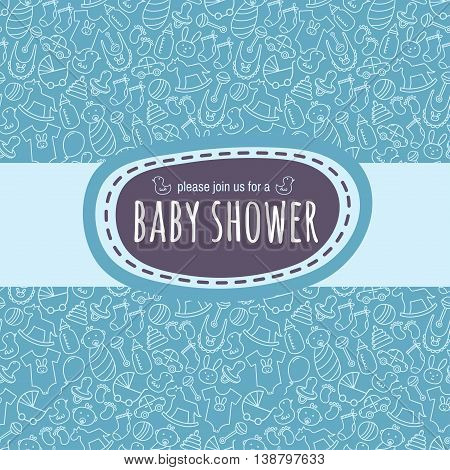 Baby shower card or newborn photo album cover template with cute pattern. Vector illustration