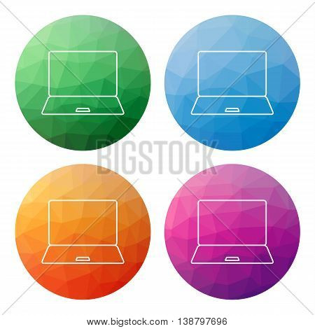 Set Of 4 Isolated Modern Low Polygonal Buttons - Icons - For Notebook (pc, Notebook, Computer)