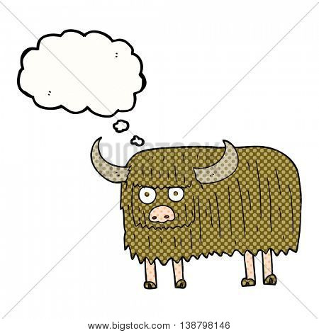 freehand drawn thought bubble cartoon hairy cow