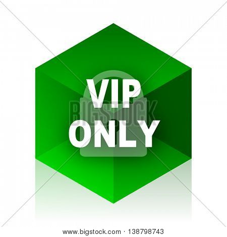 vip only cube icon, green modern design web element