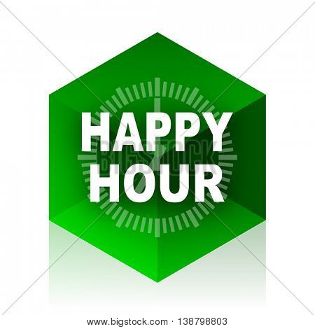 happy hour cube icon, green modern design web element