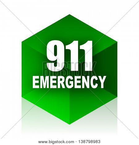 number emergency 911 cube icon, green modern design web element