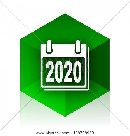new year 2020 cube icon, green modern design web element