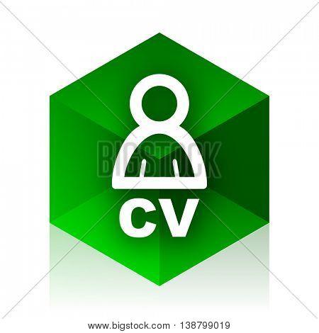 cv cube icon, green modern design web element