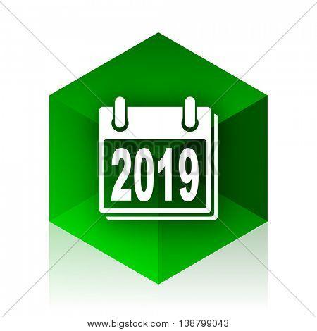 new year 2019 cube icon, green modern design web element