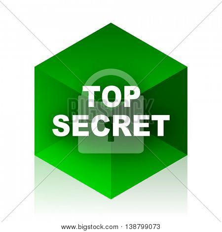 top seret cube icon, green modern design web element