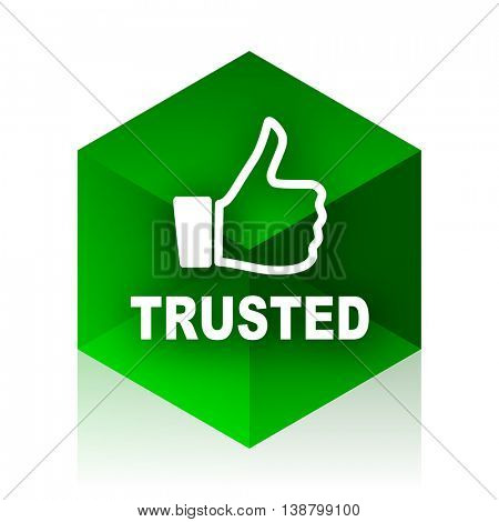 trusted cube icon, green modern design web element
