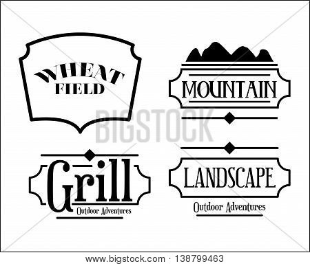 mountain frame set  isolated icon design, vector illustration  graphic